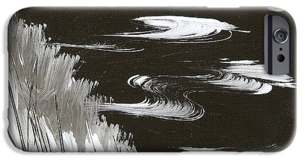 Windblown Paintings iPhone Cases - Blustery Winter Evening iPhone Case by Ginger Lovellette