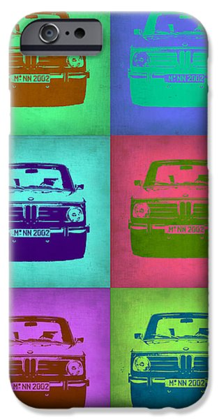 Vintage Car iPhone Cases - BMW 2002 Pop Art 2 iPhone Case by Naxart Studio