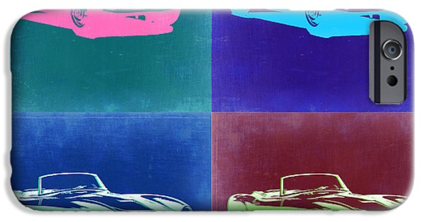 Concept Digital Art iPhone Cases - BMW 507 Pop Art 2 iPhone Case by Naxart Studio