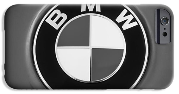 Photography Prints iPhone Cases - BMW Emblem -0460bw iPhone Case by Jill Reger