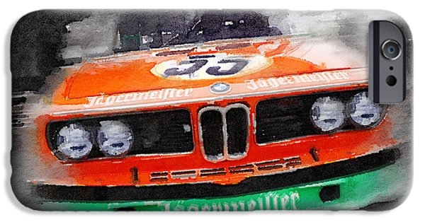 Racing Mixed Media iPhone Cases - BMW Front End Watercolor iPhone Case by Naxart Studio