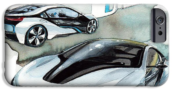 Concept Paintings iPhone Cases - BMW i8 iPhone Case by Yoshiharu Miyakawa