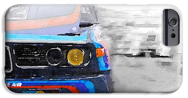 Bmw iPhone Cases - BMW Lamp and Grill Watercolor iPhone Case by Naxart Studio