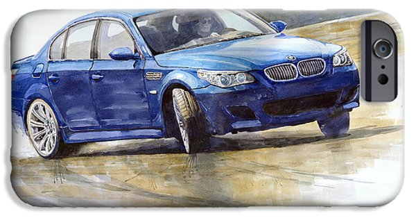 Classic Car Paintings iPhone Cases - Bmw M5 2006 01 iPhone Case by Yuriy Shevchuk