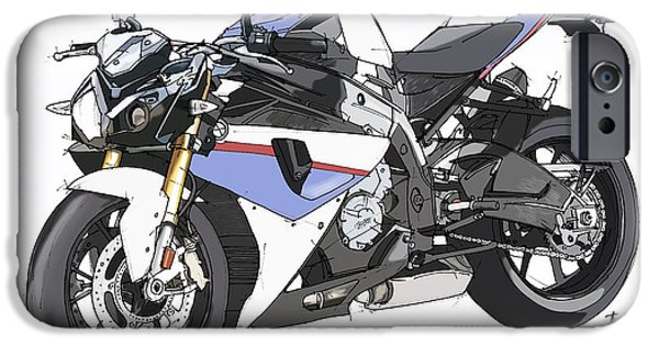 Bicycle Drawings iPhone Cases - Bmw S 1000r 2013 iPhone Case by Pablo Franchi
