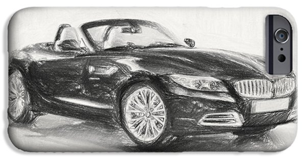 Crayons Drawings iPhone Cases - BMW Z4 Sketch iPhone Case by Taylan Soyturk