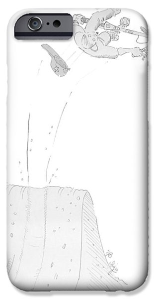 Inverted Drawings iPhone Cases - Bmx Trails Rider iPhone Case by Mike Jory