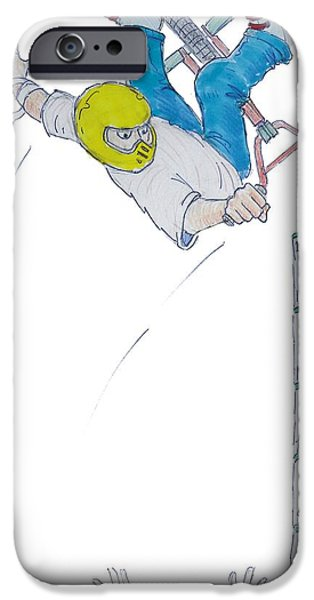 Inverted Drawings iPhone Cases - BMX Vert Drawing iPhone Case by Mike Jory
