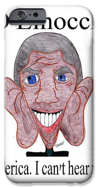 Barack Obama Drawings iPhone Cases - BO Einocchio iPhone Case by Donna Daugherty