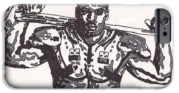 Baseball Drawings iPhone Cases - Bo Jackson  iPhone Case by Jeremiah Colley