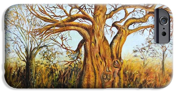 Carolinestreetart iPhone Cases - Baobab Tree iPhone Case by Caroline Street