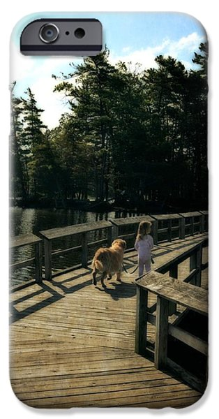 Little Girl iPhone Cases - Boardwalking iPhone Case by Michelle Calkins