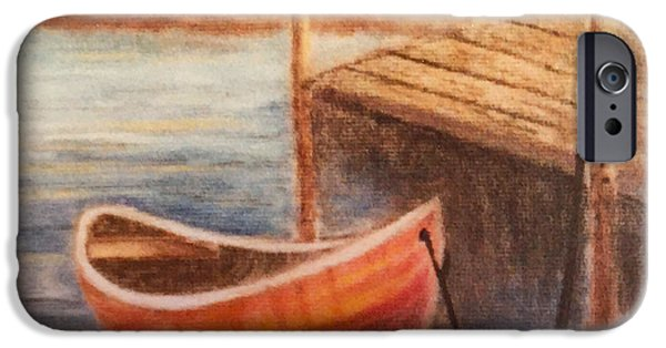 White House Pastels iPhone Cases - Boat and Dock  iPhone Case by Teresa Ascone