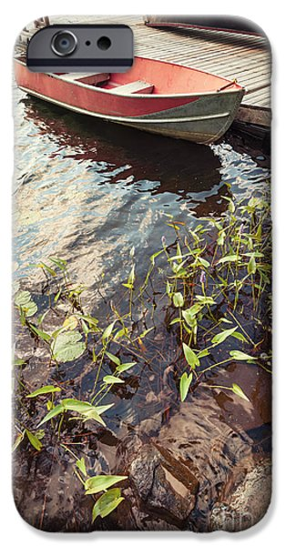 Canoe iPhone Cases - Boat at dock  iPhone Case by Elena Elisseeva