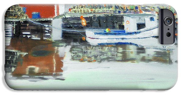 Bouys Paintings iPhone Cases - Boat at Louisburg NS iPhone Case by Michael Daniels