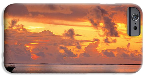 Sailboat Ocean iPhone Cases - Boat At Sunset iPhone Case by Panoramic Images