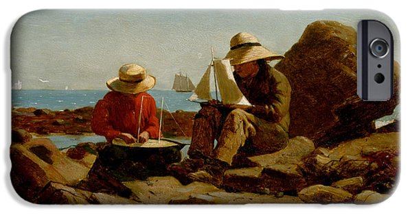Toy Boat iPhone Cases - Boat Builders iPhone Case by Winslow Homer
