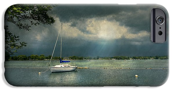 Canandaigua Lake iPhone Cases - Boat - Canandaigua NY - Tranquility before the storm iPhone Case by Mike Savad