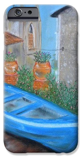 Buy Pastels iPhone Cases - Boat front of the house Sicily iPhone Case by Igor Kotnik
