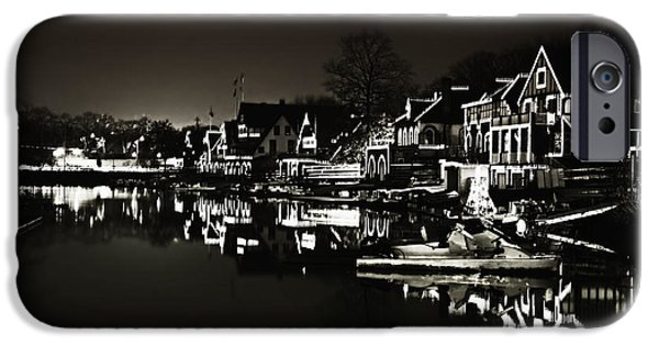 Row Boat Digital iPhone Cases - Boat House Row - In the Dark of Night iPhone Case by Bill Cannon
