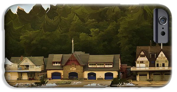 Boat Mixed Media iPhone Cases - Boat House Row iPhone Case by Trish Tritz
