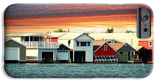 Canandaigua Lake iPhone Cases - Boat Houses on Canandaigua Lake at Sunset iPhone Case by Linda Rae Cuthbertson