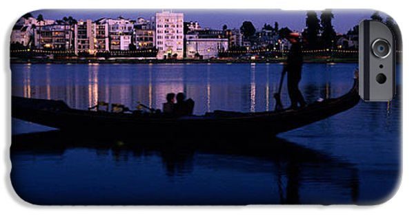 Finance iPhone Cases - Boat In A Lake With City iPhone Case by Panoramic Images