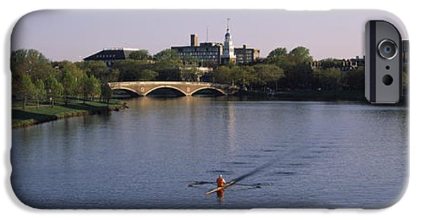 Charles River Photographs iPhone Cases - Boat In A River, Charles River, Boston iPhone Case by Panoramic Images