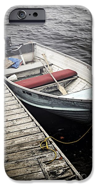 Boat iPhone Cases - Boat in fog iPhone Case by Elena Elisseeva