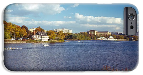 Schuylkill iPhone Cases - Boat In The River, Schuylkill River iPhone Case by Panoramic Images