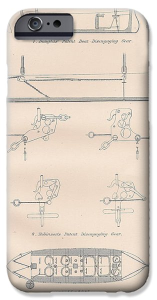 Mechanism Drawings iPhone Cases - Boat lowering gear and life boat iPhone Case by Anon