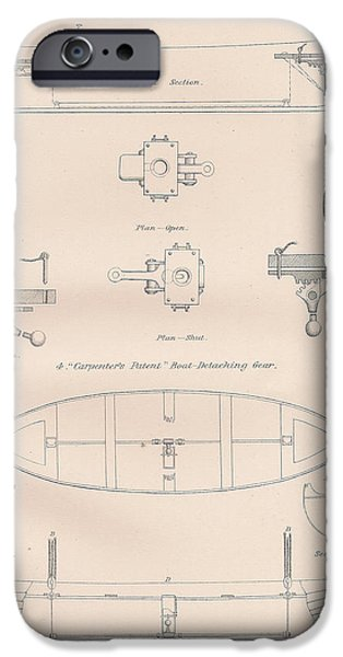 Mechanism Drawings iPhone Cases - Boat lowering gears plate 3 iPhone Case by Anon