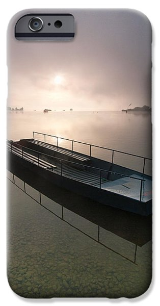 Fog Mist iPhone Cases - Boat on foggy lake iPhone Case by Davorin Mance