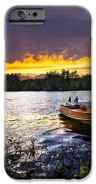 Boat on lake at sunset iPhone Case by Elena Elisseeva