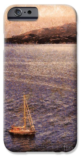 Fog Mist iPhone Cases - Boat on ocean at dusk iPhone Case by Pixel Chimp