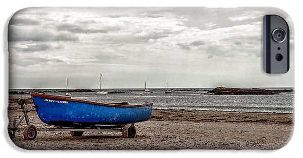 Heavy Weather iPhone Cases - Boat on the beach at Rhosneigr Anglesey iPhone Case by Nomad Art And  Design
