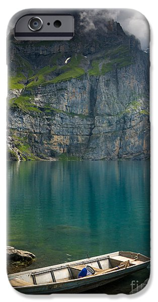 Swiss Horn iPhone Cases - Boat on the Oeschinensee - Swiss Alps  iPhone Case by Gary Whitton