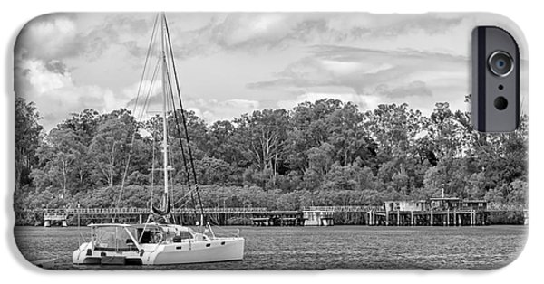 Built Structure iPhone Cases - Boat on the River iPhone Case by Wendy Townrow