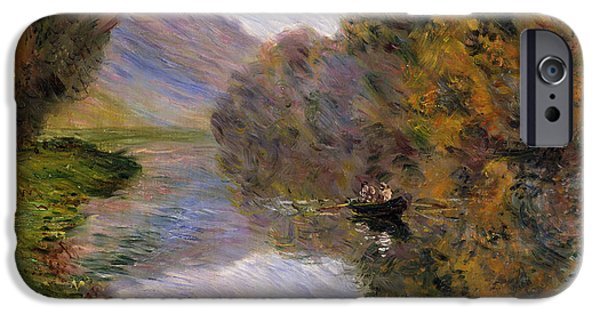 The Fall iPhone Cases - Boat on the Seine near Jeufosse iPhone Case by Claude Monet