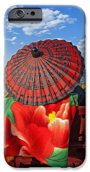 Umbrella Pyrography iPhone Cases - Boat Passanger with Pathein Umbrella iPhone Case by Judith Barath