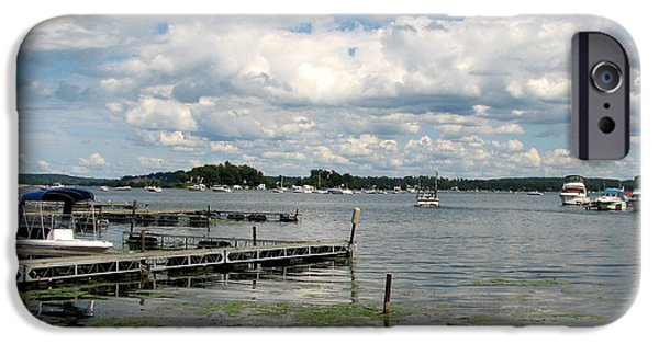 Artists4god iPhone Cases - Boat Pier on Lake Ontario iPhone Case by Rose Santuci-Sofranko