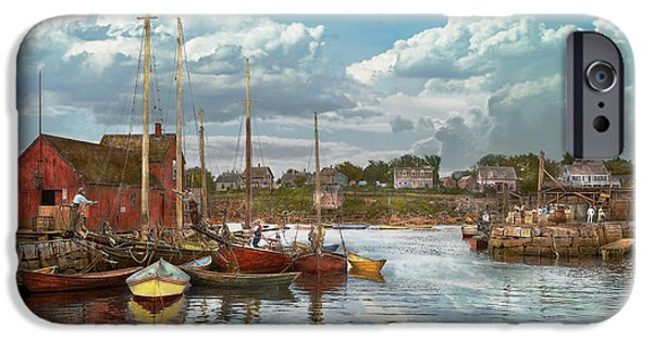 Fishing Shack iPhone Cases - Boat - Rockport Mass - Motif Number One - 1906 iPhone Case by Mike Savad