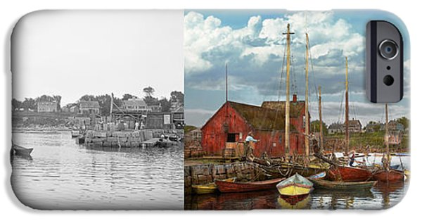 Fishing Shack iPhone Cases - Boat - Rockport Mass - Motif Number One - 1906 - Side by Side iPhone Case by Mike Savad