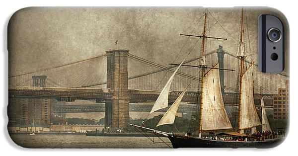 Hudson River iPhone Cases - Boat - Sailing - Govenors Island NY - Clipper City iPhone Case by Mike Savad