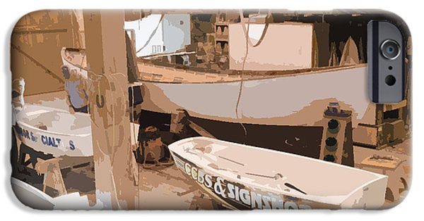 Work Tool Paintings iPhone Cases - Boat Shed 2 iPhone Case by Lanjee Chee