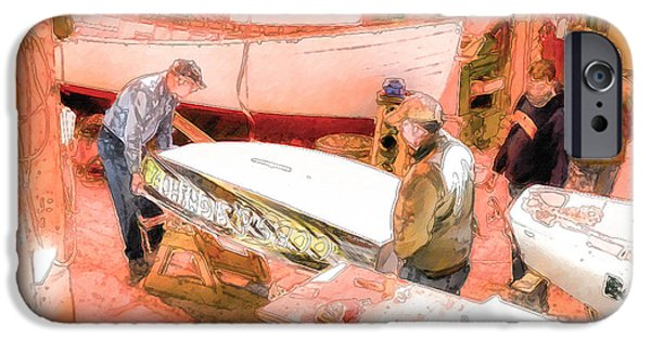 Work Tool Paintings iPhone Cases - Boat Shed 5 iPhone Case by Lanjee Chee