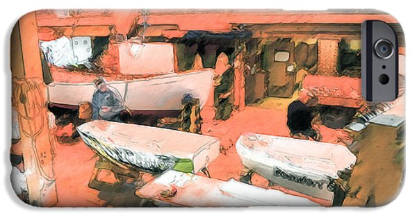 Work Tool Paintings iPhone Cases - Boat Shed 8 iPhone Case by Lanjee Chee