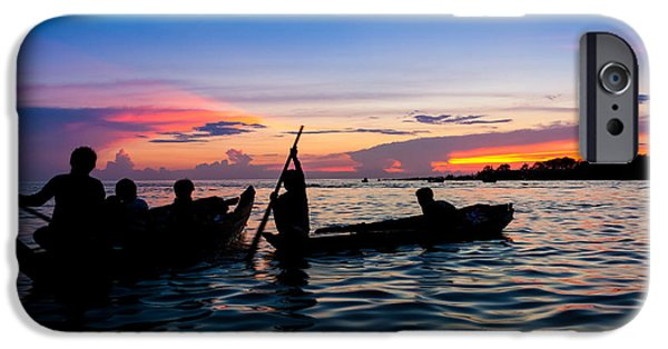 Exoticism iPhone Cases - Boat silhouettes Angkor Cambodia iPhone Case by Fototrav Print