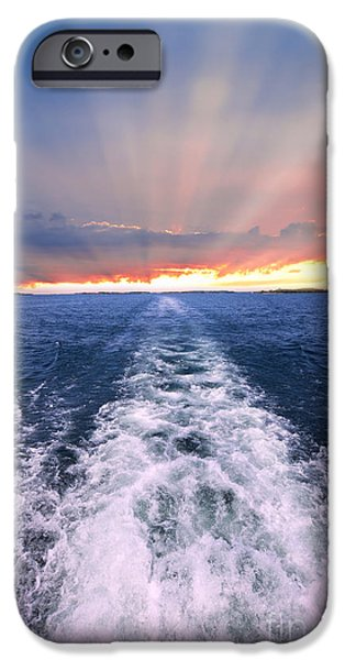 Ocean Sunset iPhone Cases - Boat wake on Georgian Bay  iPhone Case by Elena Elisseeva