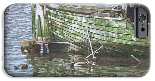 Peacefull iPhone Cases - Boat Wreck With Sea Birds iPhone Case by Martin Davey
